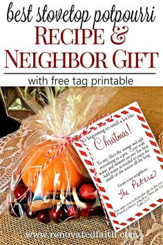 Best Simmer Pot Recipe – This recipe makes a great neighbor gift. The tutorial shows you how to make several at once to have on hand for yourself or to give as gifts. The fall scent works as an air freshener in the fall or winter months. The lemon, cin Neighbor Christmas Gifts, Christmas Party Favors, Neighbor Gifts, Homemade Christmas Gifts, Homemade Gifts, Christmas Crafts, Christmas Decorations, Christmas Ideas, Christmas Popurri