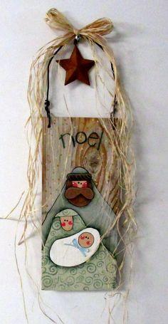 Nativity Hand Painted on Barn Wood Folk Art by barbsheartstrokes