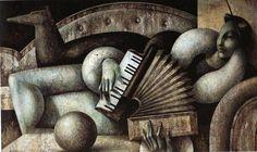Fabio Hurtado, *1960 in Spanien, pflegt einen unverwechselbaren Stil für seine Gemälde. Häufig stellt er Instrumentalisten und Filmszenen im Stile der 1920/30-er Jahre dar. Hier eine liegende Akkordeonistin. Stichworte: #Accordion #Art #Painting #Player