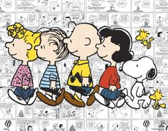 Sally, Linus, Charlie Brown, Lucy, Snoopy, and Woodstock...the Peanuts Gang.