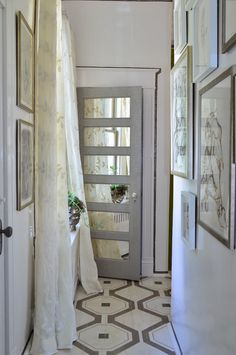 painted floor design and mirror inset door by My Notting Hill Design Entrée, House Design, Floor Design, Enchanted Home, Painted Floors, Mirror Door, Home And Deco, My New Room, Home Projects