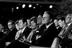 Billy Graham along with Nancy and Ronald Reagan at the 1969 Anaheim, California, Crusade.