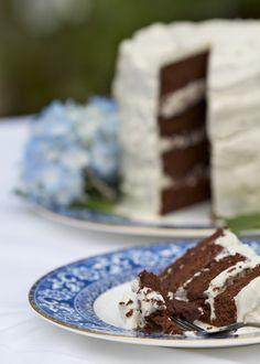 Paleo chocolate cake with coconut honey icing