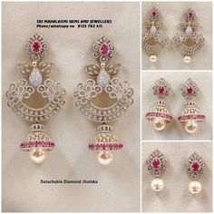 These Detachable Diamond Jewellery Designs Will Blow Your Mind! • South India Jewels Diamond Jhumkas, Diamond Jewelry, Gold Jewelry, Cz Jewellery, Indian Jewellery Design, Indian Jewelry, Jewelry Design, Jewelry Boards, Diamond Earrings