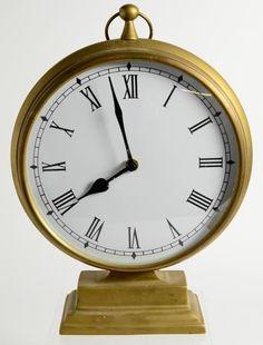 "Vintage Brass Glass Prestige Mantle Clock No Jewels Unadjusted India 12"" Tall"