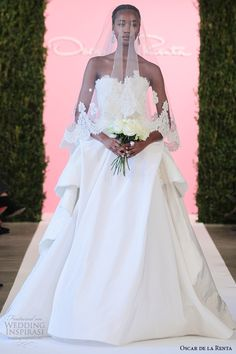 oscar de la renta bridal 2015 white silk faille ball gown lace applique draped bustle wedding dress cassandra
