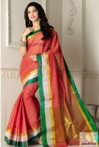 Look stunning and new fashion diva pink and green color daily wear saree. This fashionable saree online shopping with affordable price. This saree worth to buy. #saree, #casualsaree more: http://www.pavitraa.in/store/casual-saree/