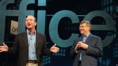 How do some people become so successful? Here are two examples of financial success. On the left is Jeff Bezos, founder and CEO of Amazon.com, and on the right is Bill Gates, Microsoft Corp. chairman and chief software architect. (2001 AP Photo)