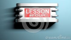 A modern wall lamp with the write LESSON #FOUR on a red panel - 3D rendering illustration