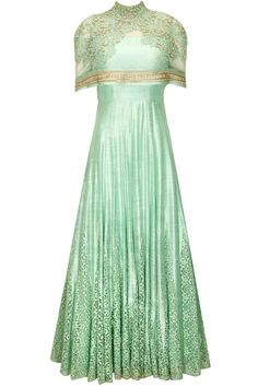 Mint green anarkali with attached cape available only at Pernia's Pop-up Shop.