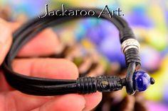 7B-038  Sterling Silver Lapiz Lazuli & Leather New Bangle Wristband Men Bracelet