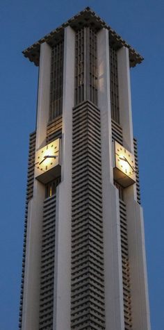 A photograph of the University of California, Riverside famous clock tower.