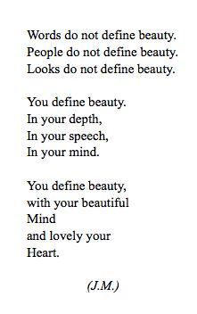 You define beauty. In your depth, In your speech, In your mind. #INTJ