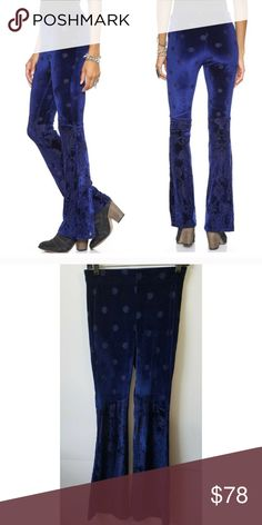 NWT Free People burnout blue velvet flares BNWT. Sold out online and in stores. Gorgeous pants but I accidentally bought a new pair because I thought I lost mine moving but then they turned up, so I'm selling the new pair. Free People Pants Boot Cut & Flare