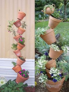 If you still haven't found a vertical planter idea that is exactly your style, maybe this one will do it for you.    The pots are simply held in position by a single piece of rebar put through the drain holes of the pots.    Pretty clever, don't you think?