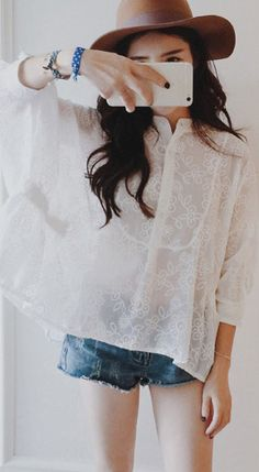 Fashiontroy  Hipster & indie 3/4 sleeves crew neck white see-through/sheer embroidered lace top