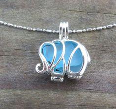 Caribbean Blue Sea Glass Elephant Locket Necklace by WaveofLife, $19.00