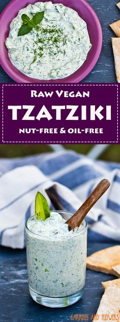 CREAMY raw vegan tzatziki that's completely nut-free and oil-free! Packed with fresh herbs and tons of flavor | Delicious on portobello gyros or as a healthy spread