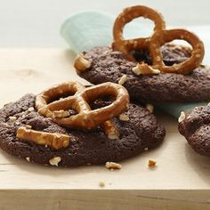 Chocolate Caramel-Pretzel Cookies: Pieces of pretzel in a hearty chocolate base, topped with sweet, chewy caramel. If you love a touch of salty with your sweet, these chunky cookies are for you.