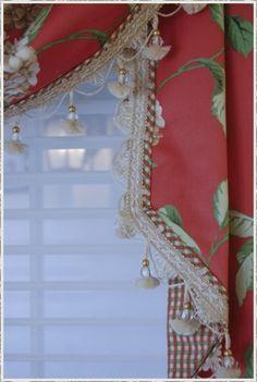 Nice contrast band with fringe, matching lining...Curtains, Shades, Valances, Blinds, Drapes | Custom Window