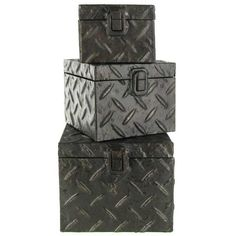 Accent home or office decor, while storing small items out of sight with this distressed Antique Silver Metal Box Set. The boxes have an embossed diamond plate texture and and are finished with a rusty patina. Firefighter Bedroom, Welcome To My House, Creative Storage, Plate, Living Room Remodel, Decorative Storage, Metal Box, Antique Silver, Silver Metal