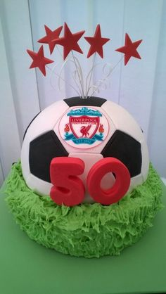 Liverpool FC 50th Birthday Cake by GranCakes