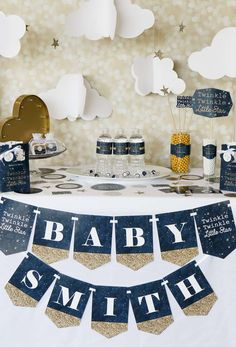 Twinkle Twinkle Little Star baby shower party! See more party planning ideas at CatchMyParty.com!
