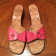 New pink Coach sandals Just tried on in the house- never worn! Coach Shoes Sandals