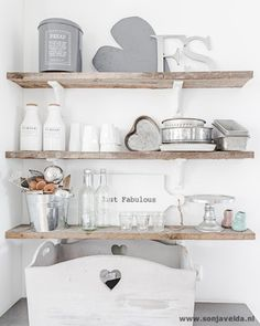 lovely DIY shelf out of old wood