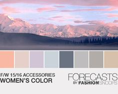F/W 15/16 Womens Acc. Color. Beautiful palette! Soft but not sickly with all those neutrals and a strong blue/grey.