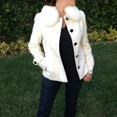 Barbie fur collar single breasted wool jacket BARBIE white jacket with fur collar and pink lining. NWOT.  Size 4.  One of a kind Barbie Jackets & Coats