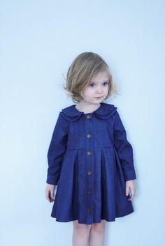 d287bf6183c Girls Denim Dress Double Collar Dress Denim Dress Long by OffOn Frocks For  Girls
