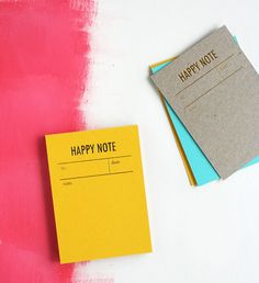 Gold Foiled Happy Note Notepads by Tokketok
