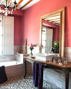 Mirror in bathroom: Decorating With Mirrors: Home Decorating Ideas Coral bathroom modern bathroom with white penny tiles My bathroom decor . Decoration Inspiration, Bathroom Inspiration, Design Inspiration, Design Ideas, Design Trends, Home Design, Interior Design, Interior Modern, Floor Design