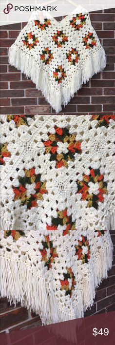 """Vintage hand crocheted poncho What an amazing piece of history ✨. Vintage, hand crocheted poncho/shawl. My guess is '60's. Still in superb condition! I saw a """"look-a-like"""" in a trendy store, last weekend for $118!!! This ORIGINAL beauty can be yours for much less.. and it's the real thing😊 Free size-- Measures 32"""" across, at longest point & is 35"""" long (including amazing fringe). Vintage Jackets & Coats Capes"""