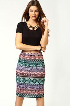 Josie Aztec Jersey Midi Tube Skirt