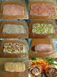Rolled loin with cream cheese filling Joshua's kitchen – Chicken Recipes Meat Recipes, Easy Dinner Recipes, Healthy Dinner Recipes, Chicken Recipes, Cooking Recipes, Dinner Rolls Recipe, Hungarian Recipes, Good Foods To Eat, Easy Healthy Breakfast