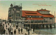 Vintage California postcard showing people walking on boardwalk by Ward McFadden Auditorium in Venice, CA.