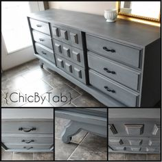 I love this DIY Dresser. SO easy to do. I used Annie Sloan Chalk Paint in Graphite and Paris Grey. Then added a bit of Behr white.
