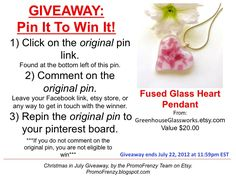 GIVEAWAY - Pin It To Win It: To Win This Item from GreenhouseGlassworks.etsy.com - follow the instructions: Click on ORIGINAL pin, comment leaving a way to contact you, REPIN the ORIGINAL Pin! Contest ends 7/22/12 @ 11:59pm EST. Winner announced 7/23/12.