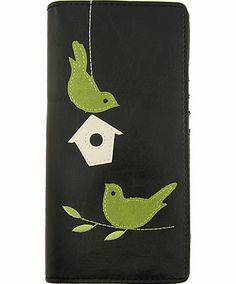 Love birds & bird house applique vegan/faux leather large wallet - LAVISHY Boutique