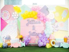 Jillian and Jilleen's Sweet Shoppe Themed Party – Birthday Events Place, Debut Ideas, Purple Table, Party Needs, Ice Cream Party, Wonderland Party, 1st Birthday Girls, Host A Party, Paper Lanterns