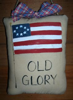 Primitive Patriotic Accent Pillow Americana OLD GLORY by auntiemeowsprims, $6.99