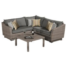 RST Brands Cannes 4-Piece Patio Corner Sectional Set with Charcoal Grey Cushions