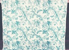 Teal blue toile fabric bird butterfly passion flowers