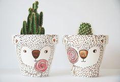 Bemalte Blumentöpfe als Deko für die Küche, Koalabären / cute flower pots with illustrations made by knoesis via DaWanda.com
