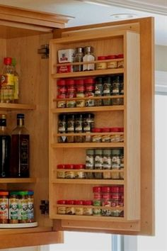 Cabinet Door Spice Rack - duplicate for spice cabinet. #KitchenCabinets