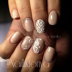 beige with white roses by @Nailliktoriya