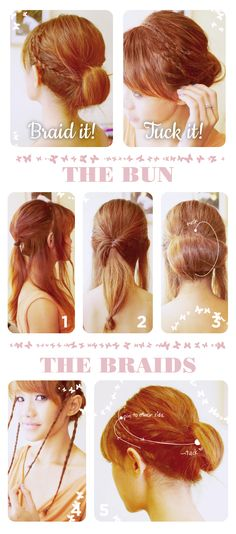 Gibson tuck with braids. Not technically a gibson tuck, more like a chignon or low bun but I love the addition of the little braids!