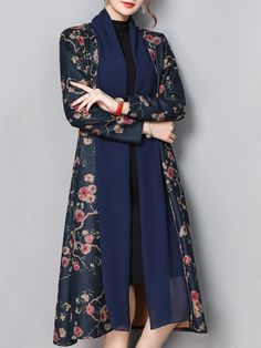 Vintage Floral Printed Long Sleeve Pocket Trench Coats For Women